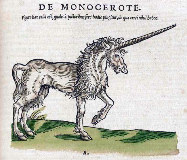 Unicorn (Monoceros). Conrad Gesner, Historiae Animalium; liber primus, qui est de quadrupedibus viviparis, Zurich, 1551.