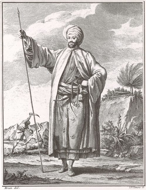Carsten Niebuhr in the attire of a distinguished Arab in Yemen, gift from al-Mahdi 'Abbas, Imam of Yemen