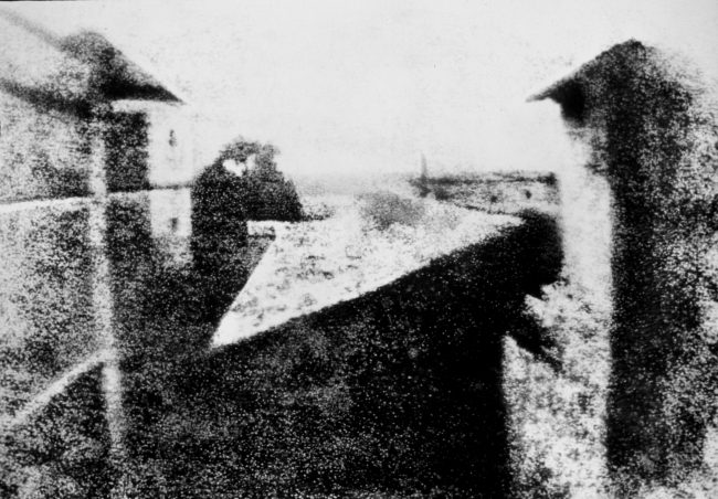 Enhanced version of Niépce's View from the Window at Le Gras (1826 or 1827), the earliest surviving photograph of a real-world scene, made using a camera obscura