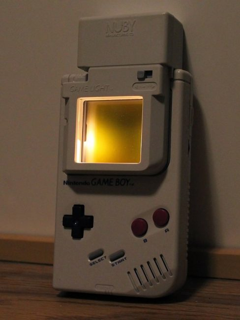 The original Game Boy lacked a backlight, so many third-party add-ons were created to improve play in low light conditions.