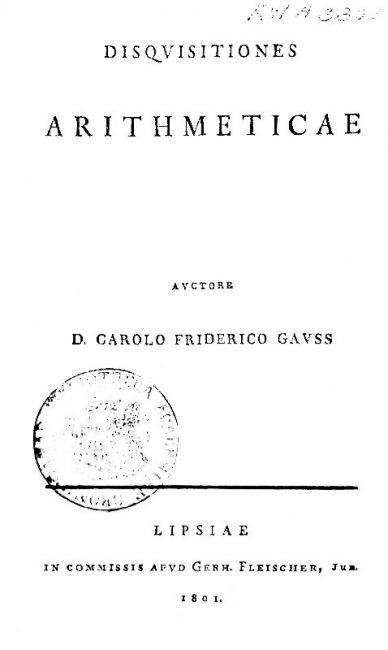 Title page of Gauss's magnum opus, Disquisitiones Arithmeticae