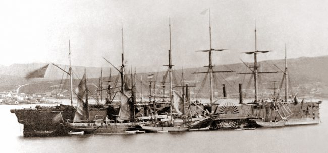 The Great Eastern designed by Isambad Brunel at Hearts Content, July 1866