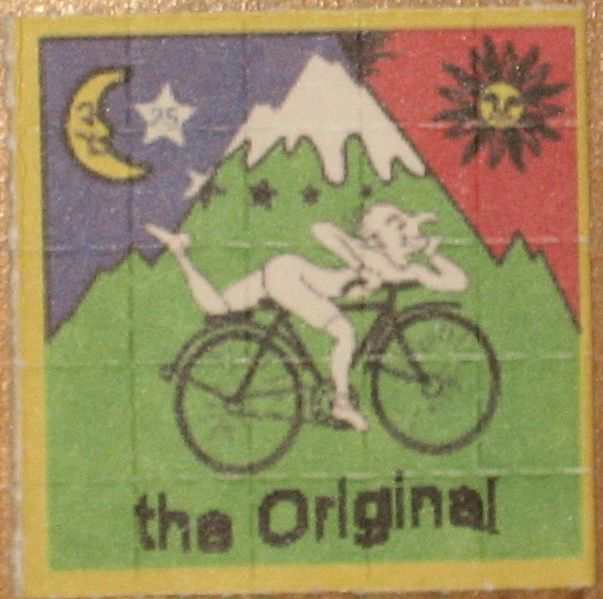 LSD blotters with Bicycle Day image