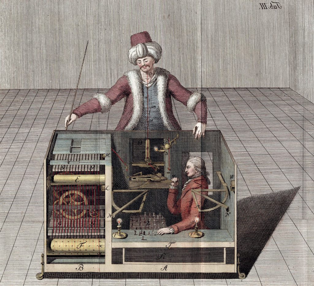 The chess playing automaton of Wolfgang von Kempelen, also known as The Turk, (joseph Racknitz, 1789)