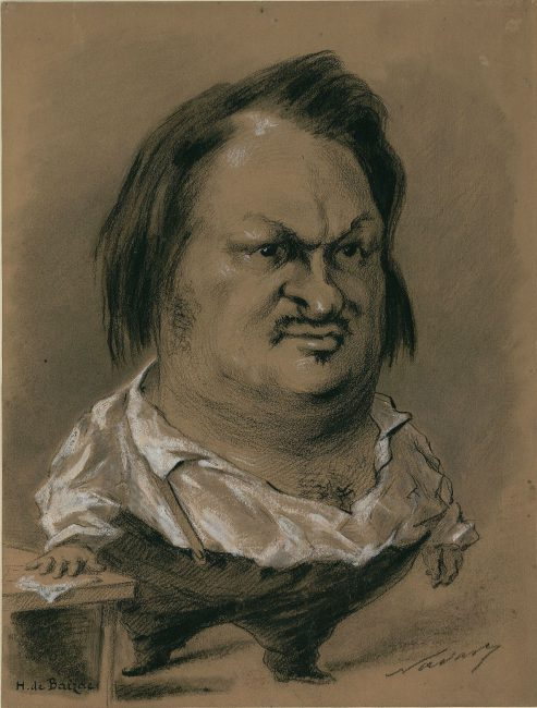 Balzac caricature by Nadar in 1850