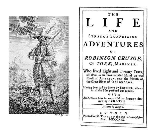 Daniel Defoe, Robinson Crusoe, Title page from the first edition (1719)