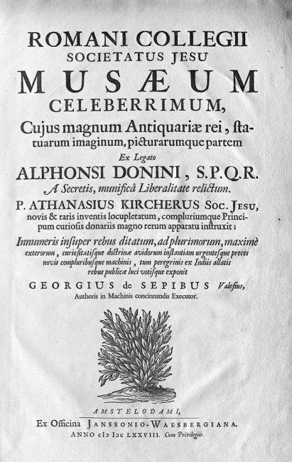 Title page, Romani Collegii Societatus Jesu musaeum Celeberrimum.