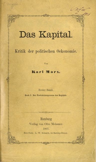 """Karl Marx's ""Das Kapital"" in an 1867 edition from the Saitzew Collection at the Zentralbibliothek Zürich"