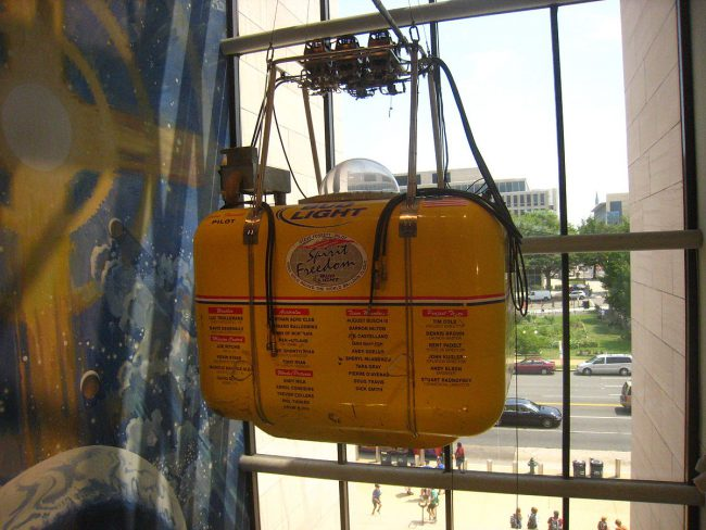 The Spirit of Freedom balloon gondola on display at the National Air and Space Museum