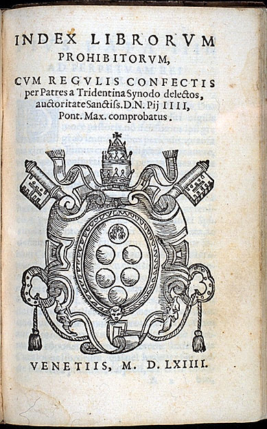 Title page of Index Librorum Prohibitorum (Venice 1564)