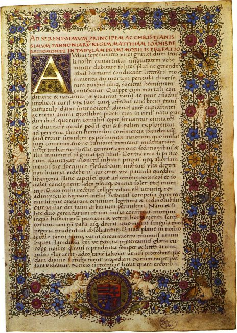 The Canones LXIII of Regiomontanus in a manuscript of the 15th century (before 1469) from the library of King Matthias Corvinus, to whom the author dedicated this work on the movement of the fixed stars.
