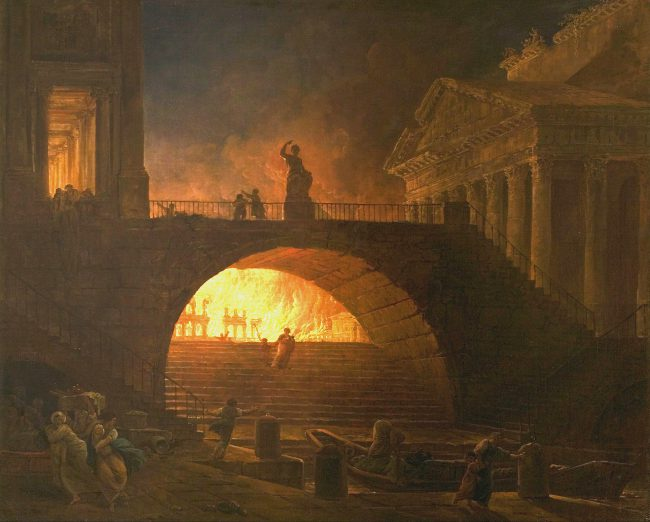 Fire in Rome by Hubert Robert. A painting of the fire burning through Rome.