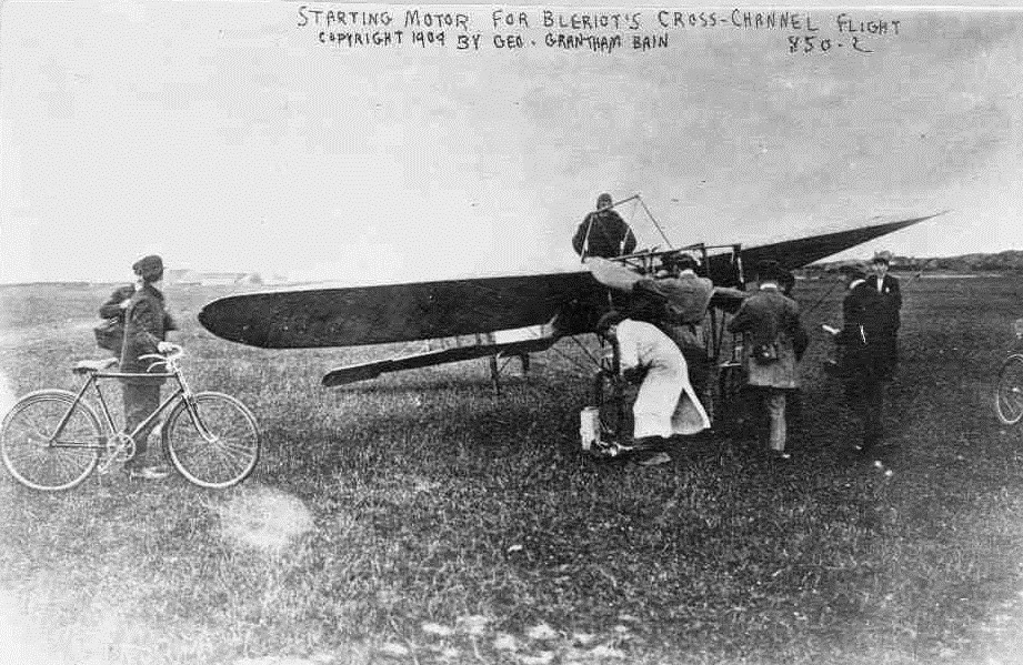 Louis Bleriot starting the engine on the day he crossed the channel