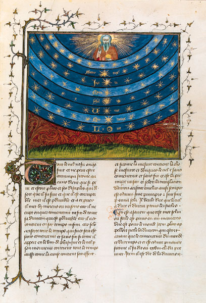 A page from Oresme's Livre du ciel et du monde, 1377, showing the celestial spheres