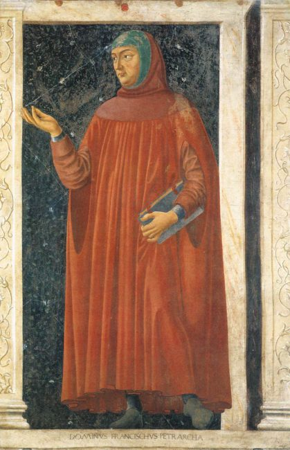 Petrarch (1304-1374), detail of a fresco by Andrea di Bartolo di Bargilla (c. 1450) Uffizi