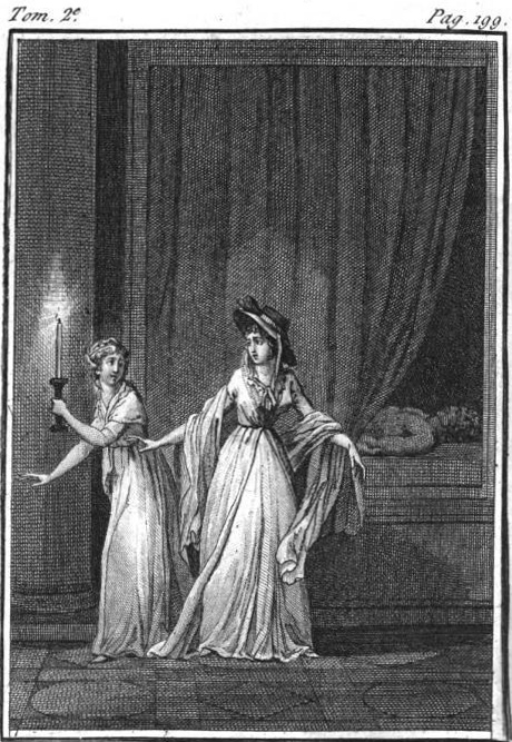Illustration from the French edition of The Mysteries of Udolpho (Les Mystères d'Udolphe, 1798)