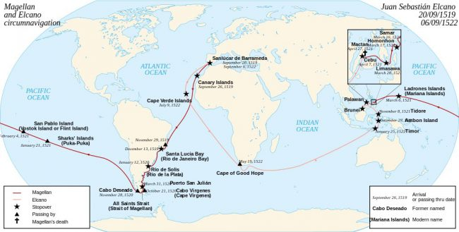 The Magellan–Elcano voyage. Victoria, one of the original five ships, circumnavigated the globe, finishing 16 months after Magellan's death.