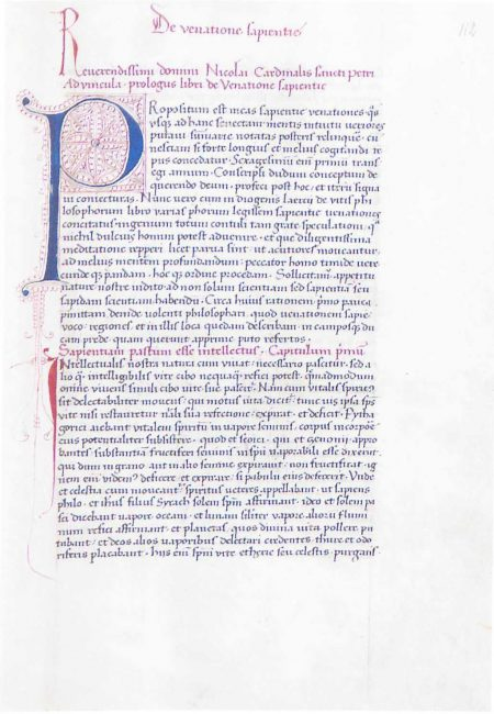 "Nikolaus of Cusa, De venatione sapientiae (""On the Hunt for Wisdom""), Bernkastel-Kues, St. Nicholas Hospital/Cusanusstift, Sign. Cod. Cus. 219, fol. 112r"