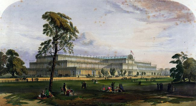 The Crystal Palace from the northeast during the Great Exhibition of 1851.