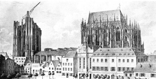 The unfinished cathedral around 1824, after Max Hasak: Cologne Cathedral, 1911