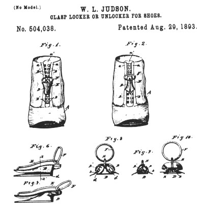 "Whitcomb Judson ""clasp locker"" patent 1893 - precurser to the modern zipper."