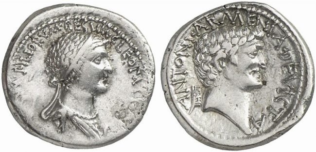 Mark Antony and Cleopatra. Denarius (Silver, 3.45 g 12 mm), mint moving with Antony, 32 BC.