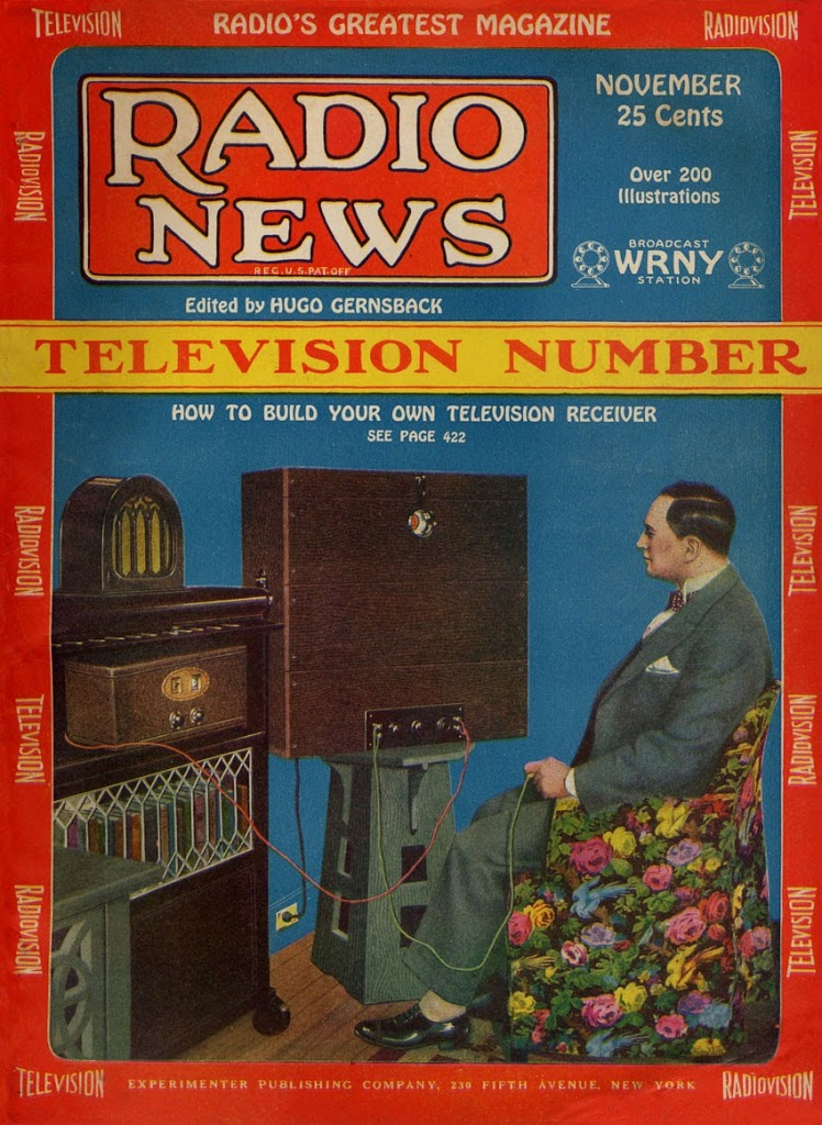 Hugo Gernsback (1885-1967) on the cover of his own magazine watching TV in 1928