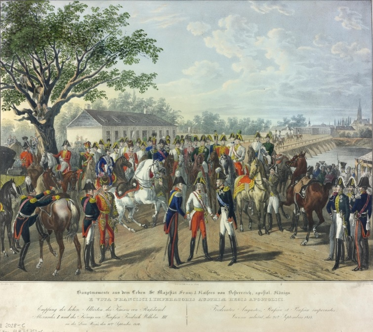 Emperor Franz I received Tsar Alexander I of Russia and King Frederick William III of Prussia, who had gathered to take part in the Congress of Vienna, at the Tabor Bridge on 25 September 1814.