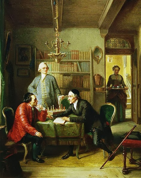 Lessing and Lavater as guests in the home of Moses Mendelssohn. Painting by Moritz Oppenheim (1856)