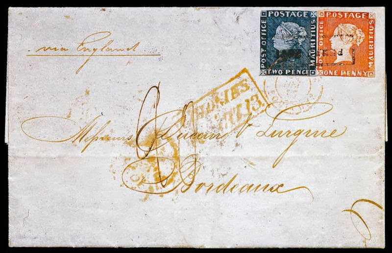 Red and Blue Mauritius on famous Bordeaux Letter