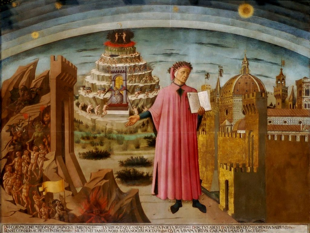 Dante shown holding a copy of the Divine Comedy, next to the entrance to Hell, the seven terraces of Mount Purgatory and the city of Florence, with the spheres of Heaven above, in Michelino's fresco