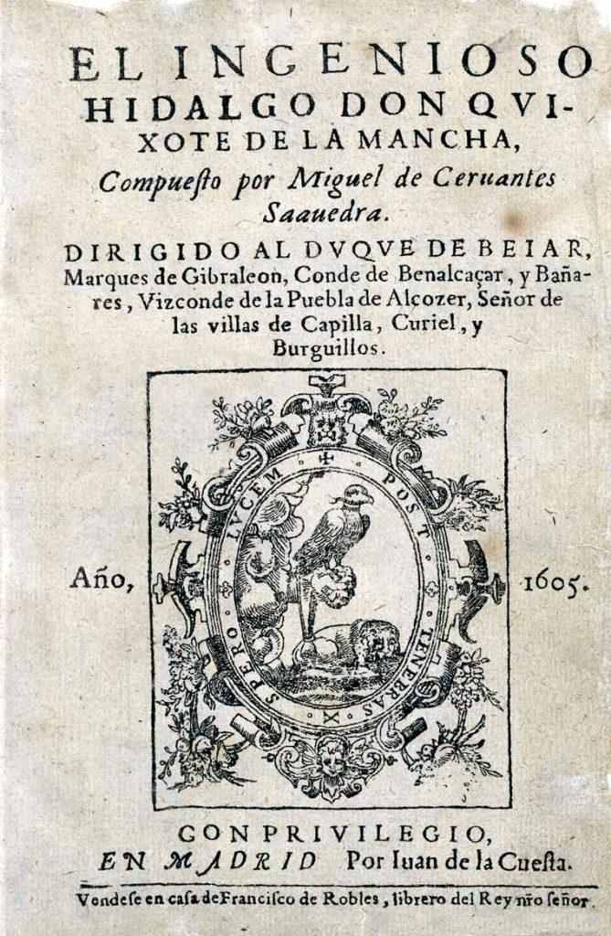 Cover of Miguel de Cervantes, Don Quijote, 1605