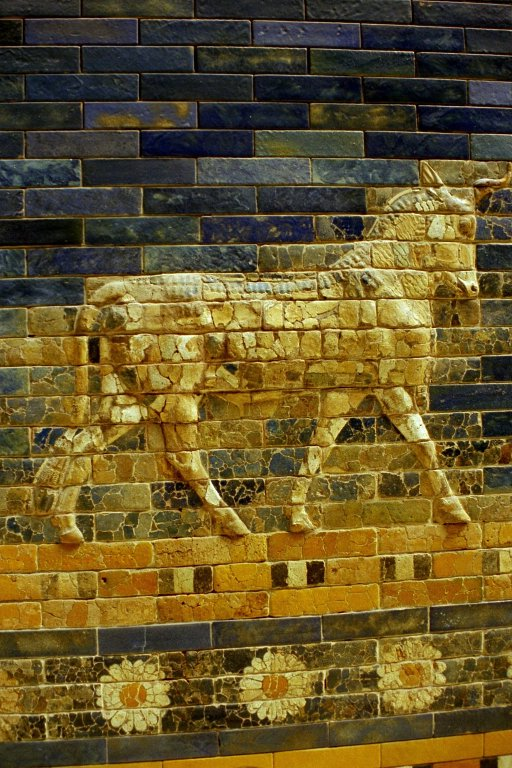 Relief of colored glazed bricks, detail of the Ishtar Gate (Pergamonmuseum, Berlin)