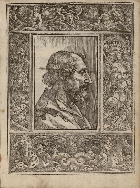 Ludovico Ariosto, woodcut in the third edition of Orlando Furioso, Ferrara 1532, by Ariosto himself.