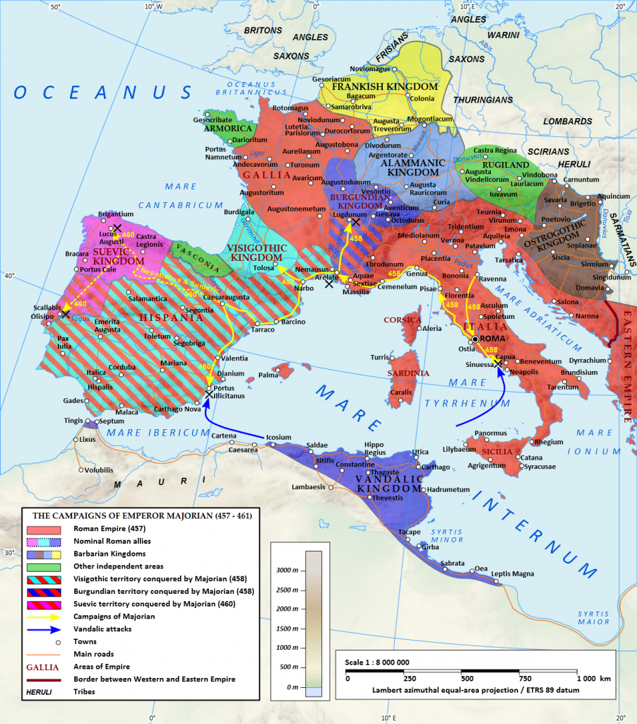 The campaigns of Roman Emperor Majorian. During his four year reign, Majorian reconquered most of Hispania and southern Gaul.