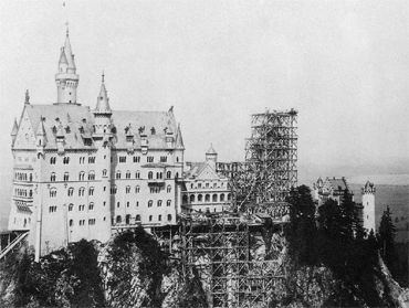 Neuschwanstein in 1886, the year of King Ludwig's death
