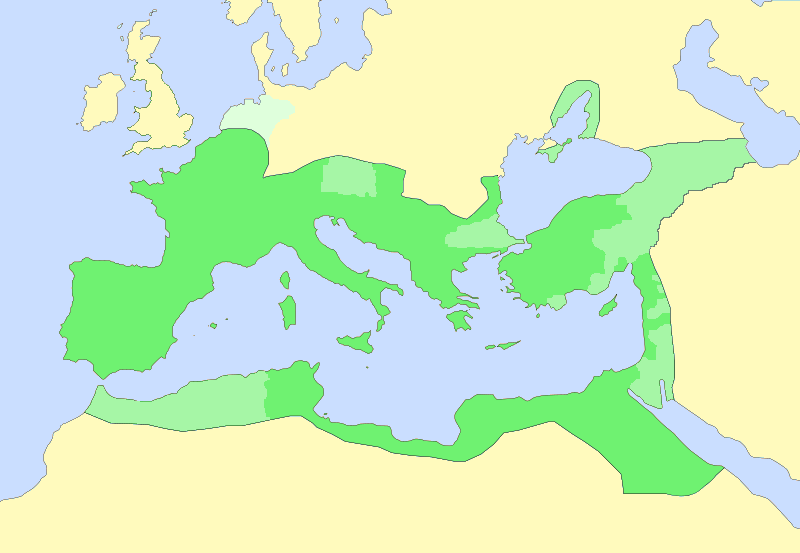 The Roman Empire under Emperor Augustus (dark green: Roman provinces, light green: dependent territories/client states, pale green: Germania province)