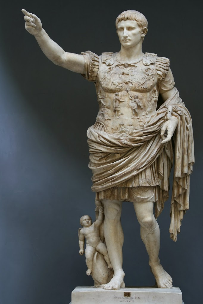 Augustus, 1st Emperor of the Roman Empire (63BC - 14AD), marble statue known as Augustus of Prima Porta