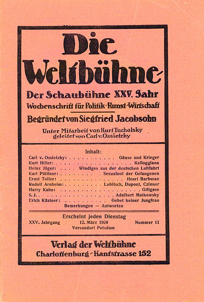 Weltbühne cover, 12 March 1929