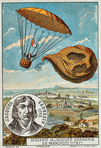 André-Jacques Garnerin releases the balloon and descends with the help of a parachute, 1797. Illustration from the late 19th century.
