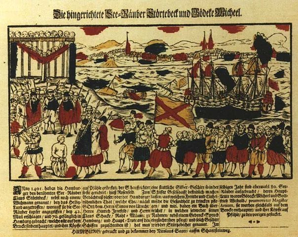 The summary execution of Störtebeker, 1401; tinted woodcut tby Nicolaus Sauer, Hamburg, 1701 (Hamburger Staatsarchiv)