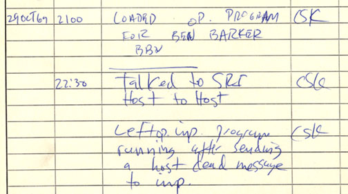 First ARPANET IMP log: the first message ever sent via the ARPANET, 10:30 pm PST on 29 October 1969 (6:30 UTC on 30 October 1969)