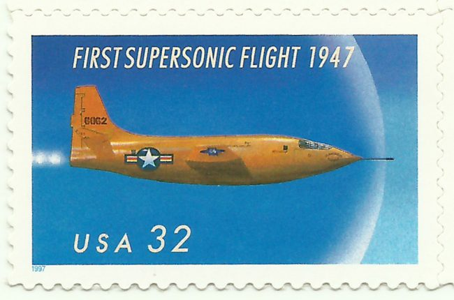 A 1997 United States Postal Service stamp commemorates Bell X-1, the first plane to fly faster than the speed of sound