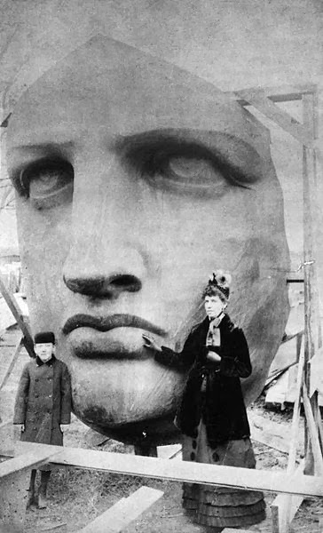 The statue's head was delivered in 1885