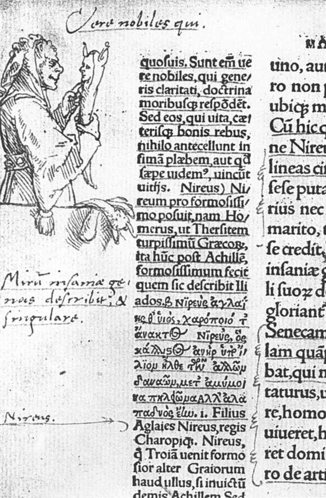 Marginal drawing of Folly by Hans Holbein in the first edition of Erasmus's Praise of Folly, 1515