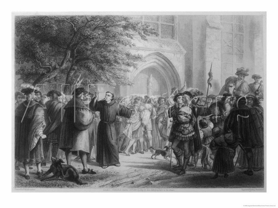 Luther Nails up his 95 Theses at Wittenberg, engraving by Auguste Blanchard, from Historic scenes in the life of Martin Luther (1862)