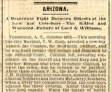 Newspaper article from 1881, pertaining to the Gunfight at the O.K. Corral