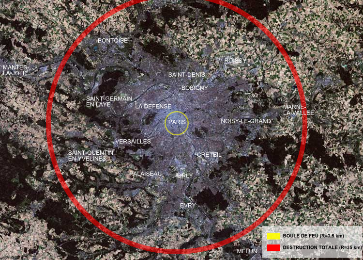 Zone of total destruction of the Tsar Bomba on a map of Paris: red circle = total destruction