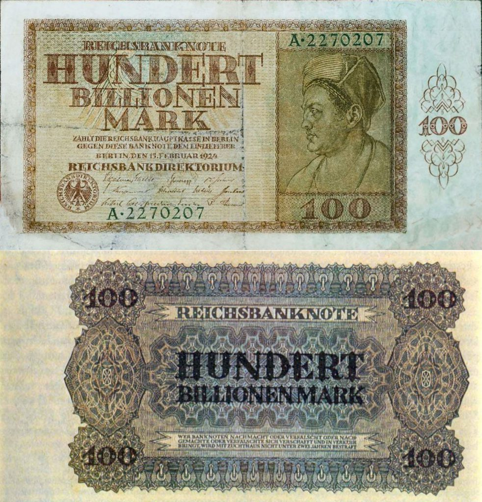 100 trillion paper marks have an official value of 100 Rentenmark as replacement money in 1924.