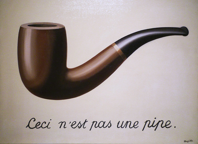 La Trahison des images (Ceci n'est pas une pipe), René Magritte, Belgian, 1929, oil on canvas, https://www.flickr.com/photos/profzucker/3320751204/in/photostream/
